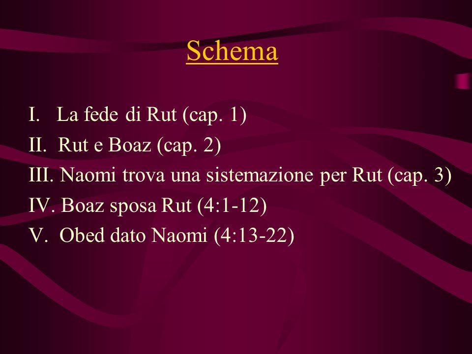 Schema I. La fede di Rut (cap. 1) II. Rut e Boaz (cap. 2) III. Naomi trova una sistemazione per Rut (cap. 3) IV. Boaz sposa Rut (4:1-12) V. Obed dato