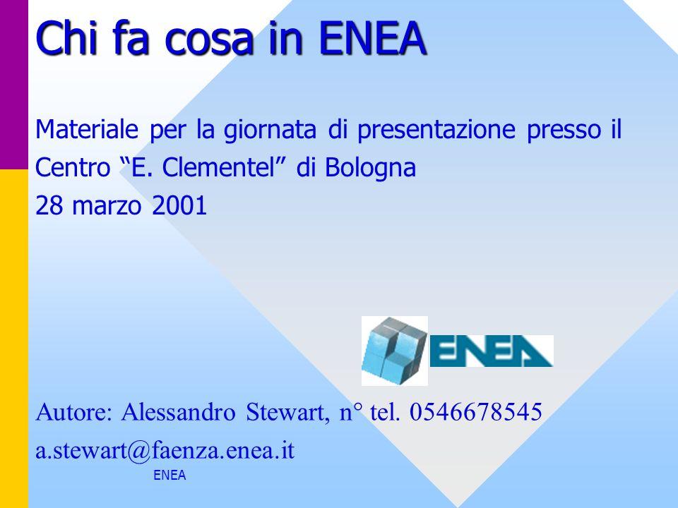 ENEA Chi fa cosa in ENEA Materiale per la giornata di presentazione presso il Centro E. Clementel di Bologna 28 marzo 2001 Autore: Alessandro Stewart,