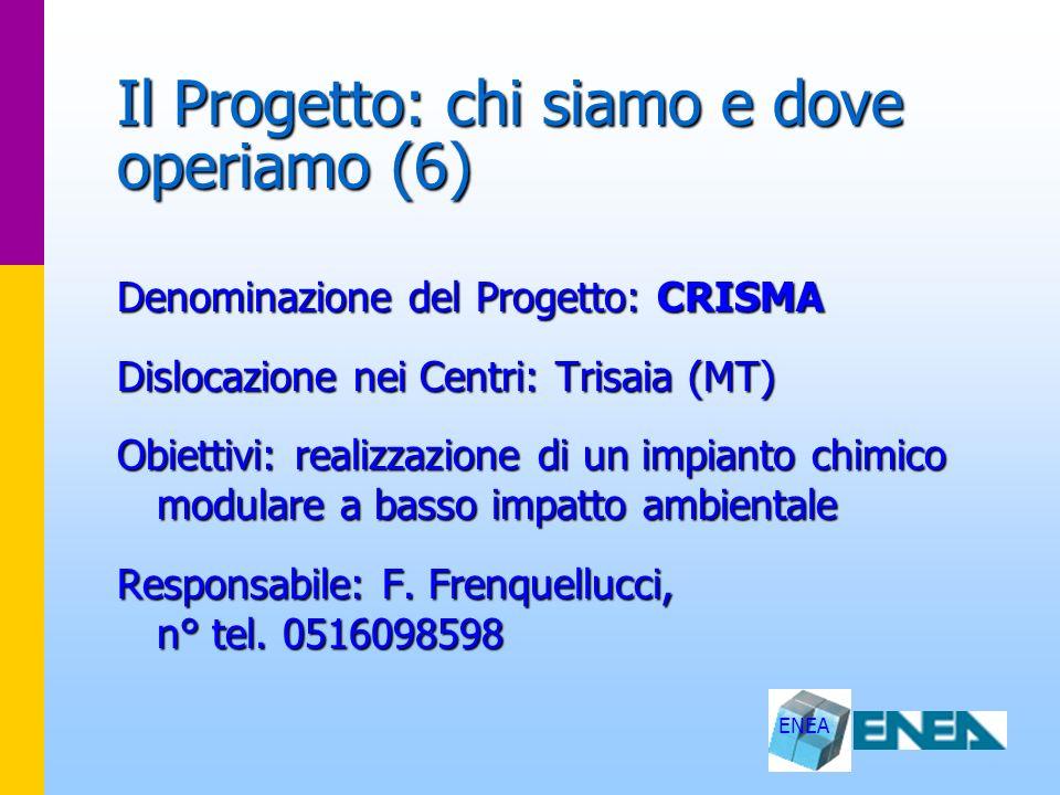 ENEA Il Progetto: chi siamo e dove operiamo (6) Denominazione del Progetto: CRISMA Dislocazione nei Centri: Trisaia (MT) Obiettivi: realizzazione di u