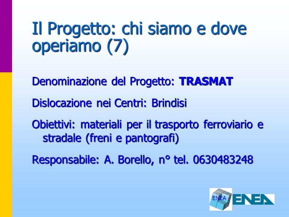 ENEA Il Progetto: chi siamo e dove operiamo (7) Denominazione del Progetto: TRASMAT Dislocazione nei Centri: Brindisi Obiettivi: materiali per il tras