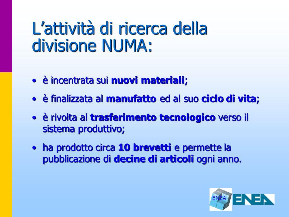ENEA Lattività di ricerca della divisione NUMA: è incentrata sui nuovi materiali;è incentrata sui nuovi materiali; è finalizzata al manufatto ed al su