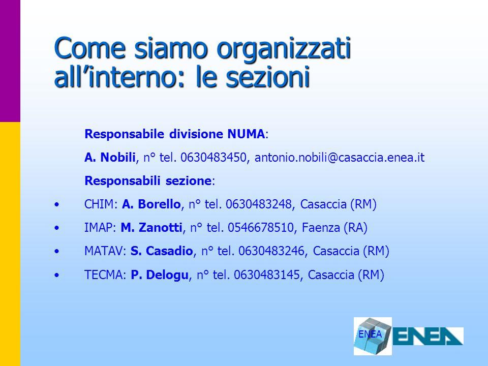 ENEA Come siamo organizzati allinterno: le sezioni Responsabile divisione NUMA: A. Nobili, n° tel. 0630483450, antonio.nobili@casaccia.enea.it Respons