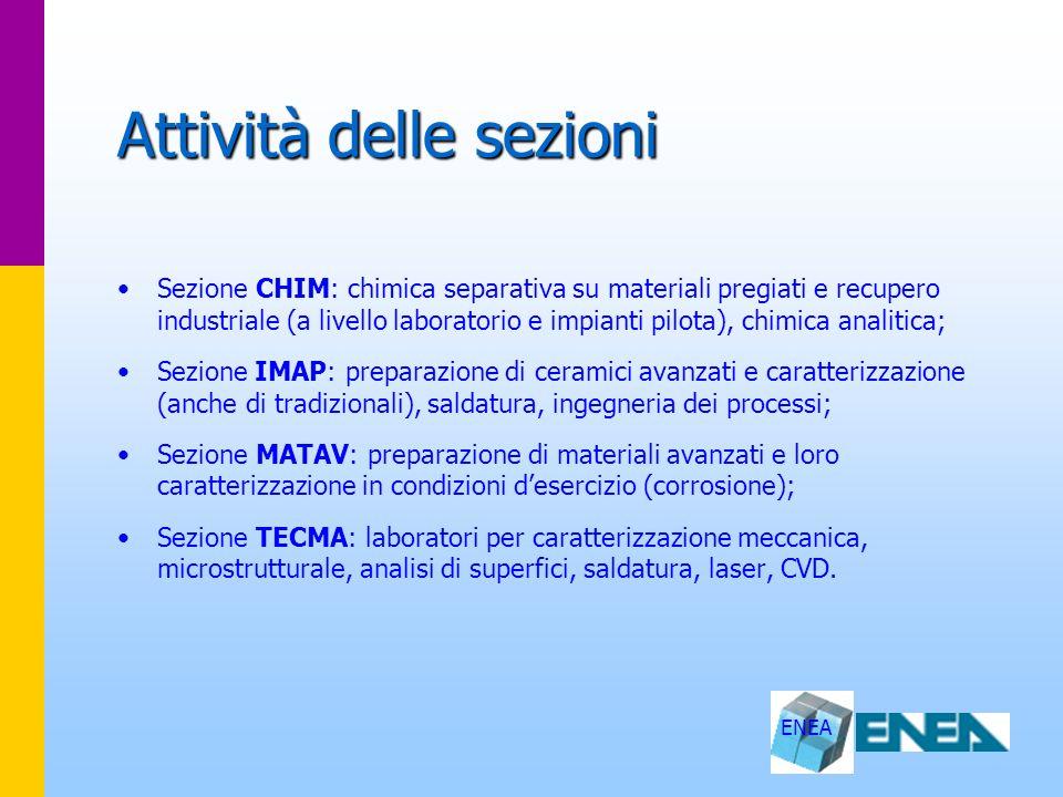 ENEA Attività delle sezioni Sezione CHIM: chimica separativa su materiali pregiati e recupero industriale (a livello laboratorio e impianti pilota), c