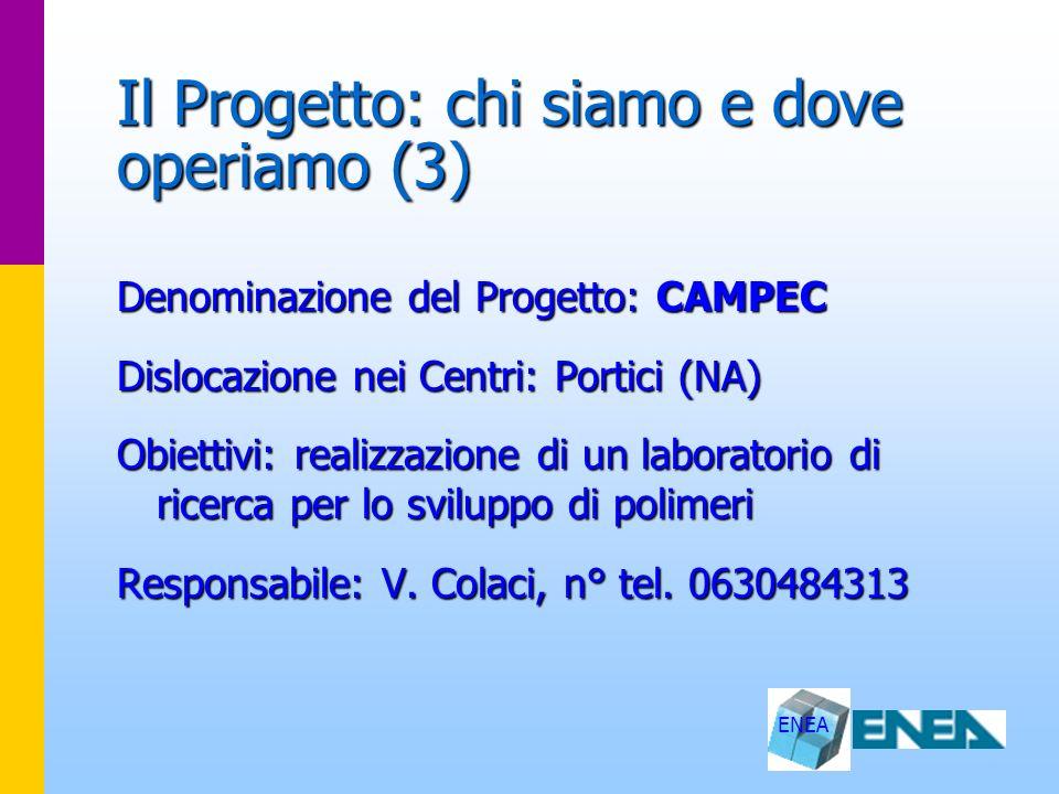 ENEA Il Progetto: chi siamo e dove operiamo (3) Denominazione del Progetto: CAMPEC Dislocazione nei Centri: Portici (NA) Obiettivi: realizzazione di u