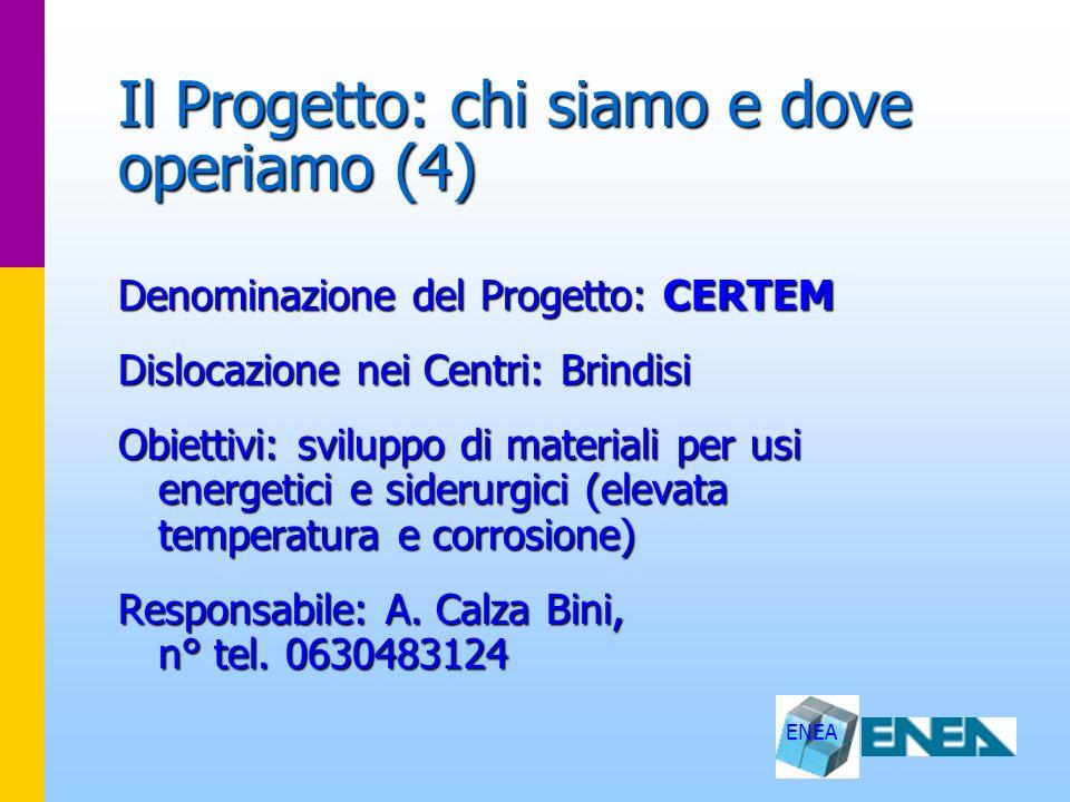 ENEA Il Progetto: chi siamo e dove operiamo (5) Denominazione del Progetto: CNRSM Dislocazione nei Centri: Brindisi Obiettivi: sviluppo di materiali e processi tecnologici innovativi Responsabile: M.