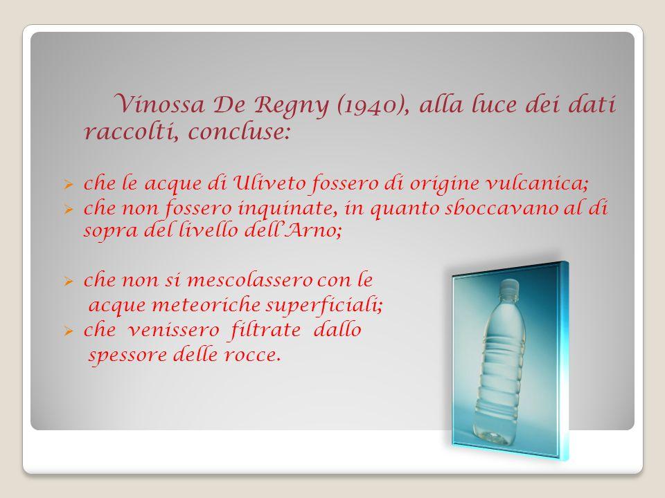 Vinossa De Regny (1940), alla luce dei dati raccolti, concluse: che le acque di Uliveto fossero di origine vulcanica; che non fossero inquinate, in quanto sboccavano al di sopra del livello dellArno; che non si mescolassero con le acque meteoriche superficiali; che venissero filtrate dallo spessore delle rocce.