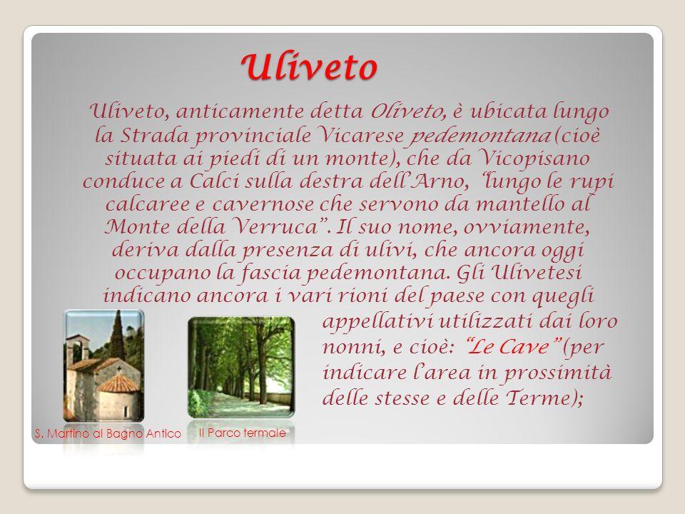 Uliveto Uliveto, anticamente detta Oliveto, è ubicata lungo la Strada provinciale Vicarese pedemontana (cioè situata ai piedi di un monte), che da Vicopisano conduce a Calci sulla destra dellArno, lungo le rupi calcaree e cavernose che servono da mantello al Monte della Verruca.