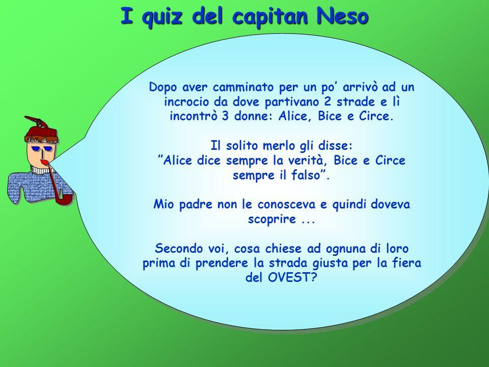 I quiz del capitan Neso Dopo aver camminato per un po arrivò ad un incrocio da dove partivano 2 strade e lì incontrò 3 donne: Alice, Bice e Circe.
