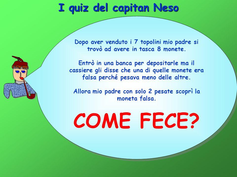 I quiz del capitan Neso Dopo aver venduto i 7 topolini mio padre si trovò ad avere in tasca 8 monete.