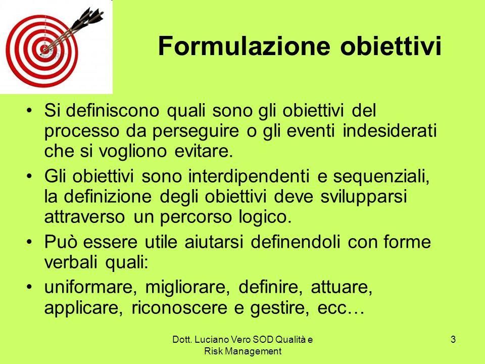 Dott. Luciano Vero SOD Qualità e Risk Management 3 Formulazione obiettivi Si definiscono quali sono gli obiettivi del processo da perseguire o gli eve