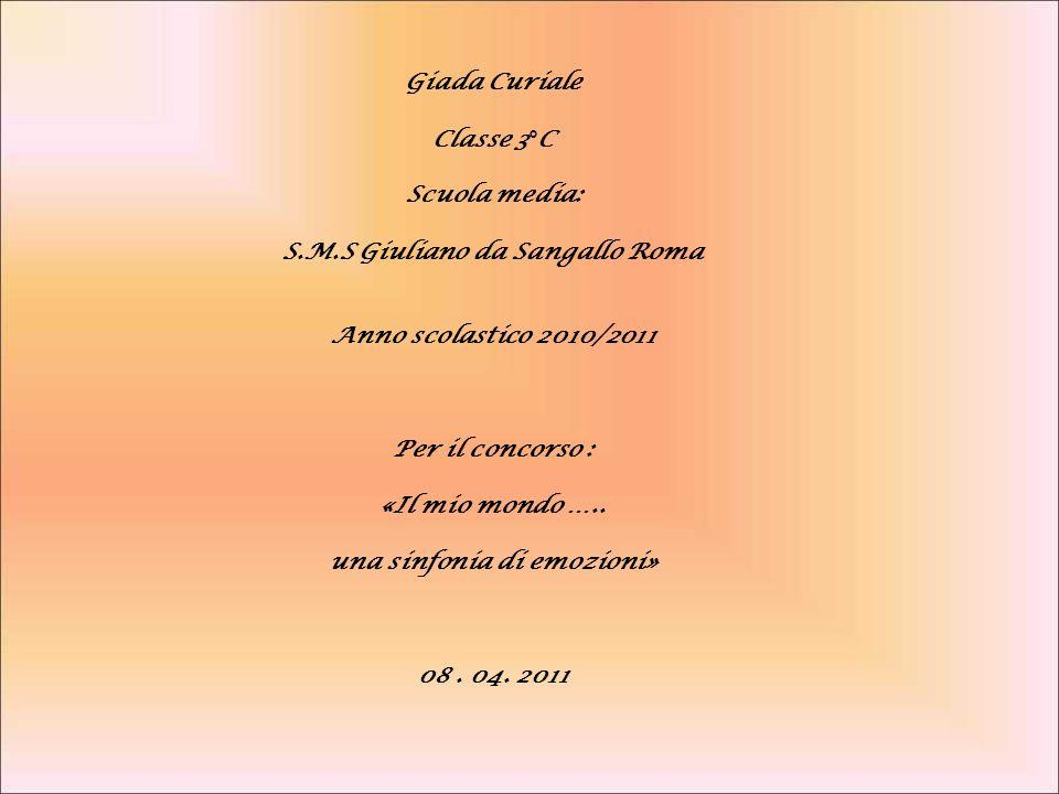Classe 3°C Scuola media: S.M.S Giuliano da Sangallo Roma Anno scolastico 2010/2011 Per il concorso : «Il mio mondo ….. una sinfonia di emozioni» 08. 0