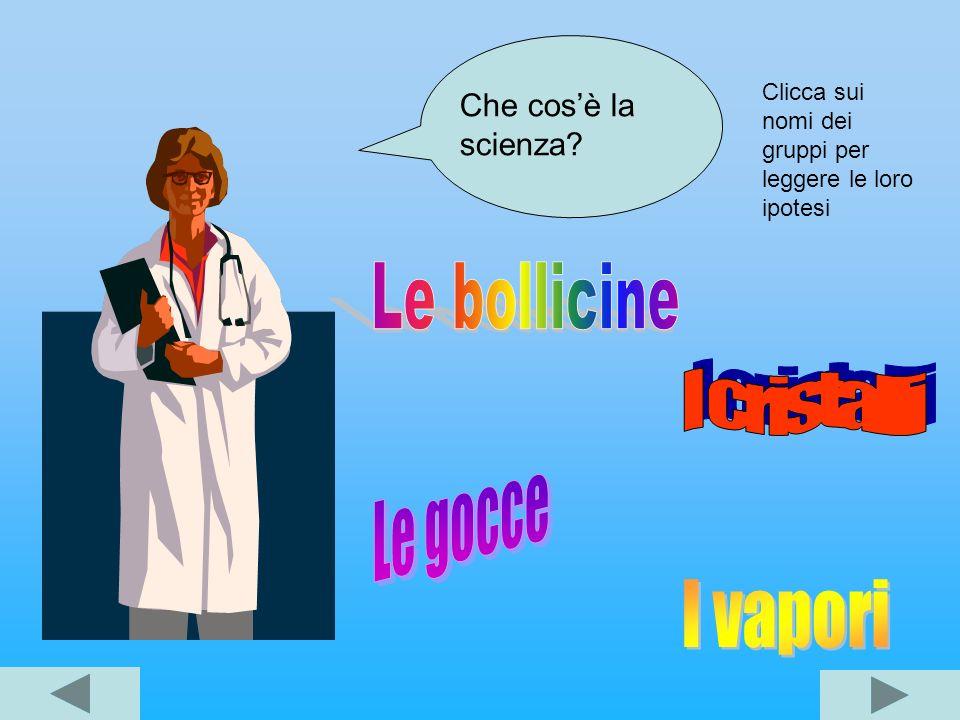 Che cosè la scienza? Clicca sui nomi dei gruppi per leggere le loro ipotesi