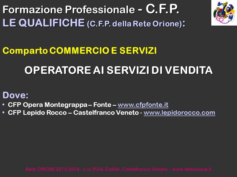 Rete ORIONE 2013/2014 - c/o IPSIA Galilei, Castelfranco Veneto - www.reteorione.it Indirizzo SERVIZI DEL TURISMO OPERATORE DEI SERVIZI DI PROMOZIONE E ACCOGLIENZA Dove: I.S.I.S.S.