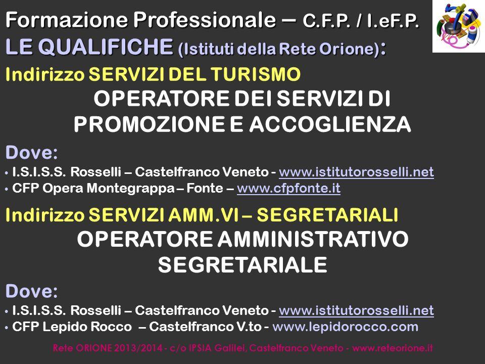 Rete ORIONE 2013/2014 - c/o IPSIA Galilei, Castelfranco Veneto - www.reteorione.it Dove: CFP Opera Montegrappa – Fonte – www.cfpfonte.itwww.cfpfonte.it Comparto INDUSTRIALE-ARTIGIANALE 1.OPERATORE ALLA AURORIPARAZIONE: Manutentore e riparatore auto 2.OPERATORE ALLA AUTORIPARAZIONE: Carrozziere 3.OPERATORE ELETTRICO ed ELETTRONICO 4.OPERATORE MECCANICO DI SISTEMI: Op.