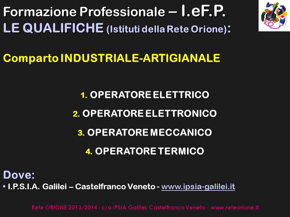 Rete ORIONE 2013/2014 - c/o IPSIA Galilei, Castelfranco Veneto - www.reteorione.it SETTORE AGRICOLO OPERATORE AGRICOLO ad indirizzo ALLEVAMENTO ANIMALI DOMESTICI OPERATORE AGRICOLO ad indirizzo COLTIVAZIONI ARBOREE, ERBACEE ED ORTOFLORICOLE Dove: I.S.I.S.S.