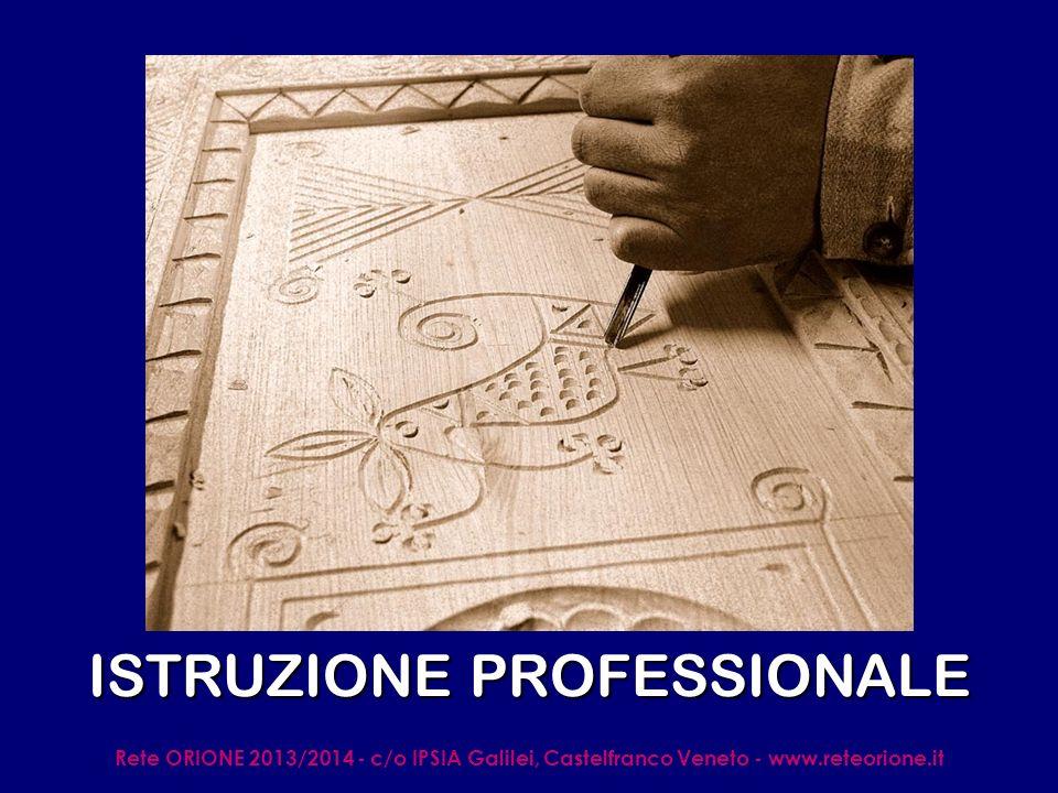 Rete ORIONE 2013/2014 - c/o IPSIA Galilei, Castelfranco Veneto - www.reteorione.it ISTRUZIONE PROFESSIONALE OBIETTIVI: trasmettere le conoscenze e le competenze per acquisire la cultura del settore produttivo di riferimento (produzione di beni e/o servizi) e ricoprire RUOLI TECNICI OPERATIVI CARATTERISTICHE COMUNI: 5 anni.