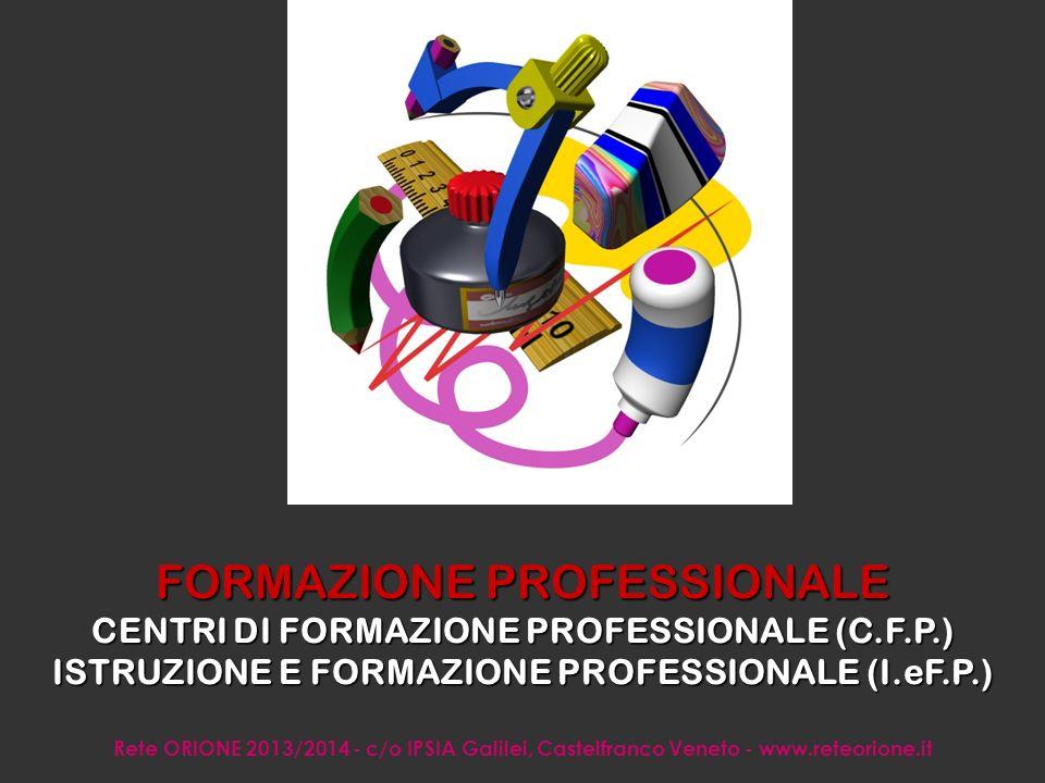 Rete ORIONE 2013/2014 - c/o IPSIA Galilei, Castelfranco Veneto - www.reteorione.it La FORMAZIONE e l ISTRUZIONE PROFESSIONALE hanno l obiettivo di far conseguire una QUALIFICA PROFESSIONALE con la quale entrare nel mondo del lavoro, mediante apprendimento di materie teoriche + esperienza pratica.
