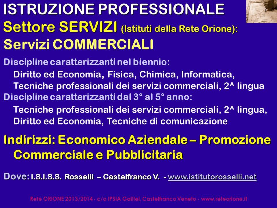 Rete ORIONE 2013/2014 - c/o IPSIA Galilei, Castelfranco Veneto - www.reteorione.it ISTRUZIONE PROFESSIONALE S.