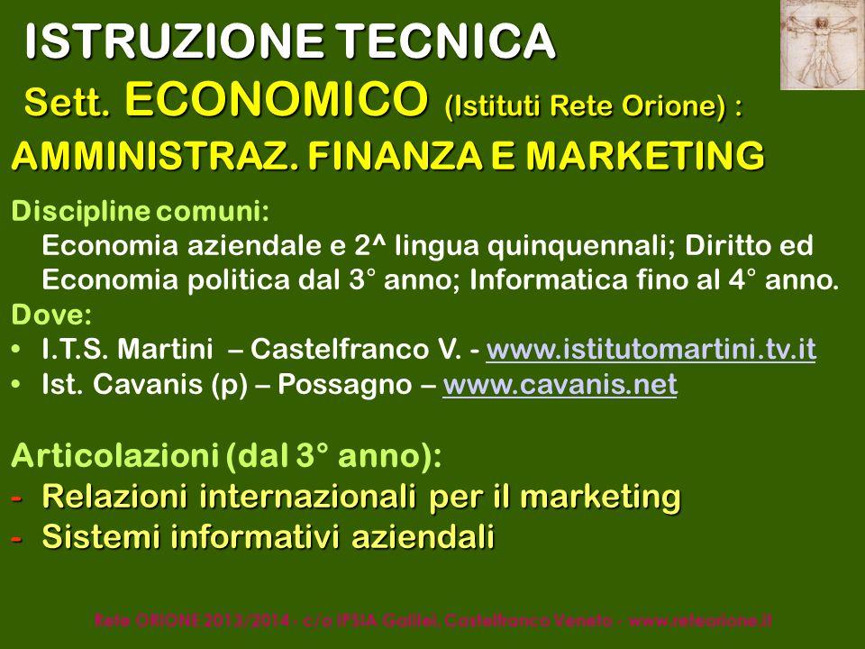 Rete ORIONE 2013/2014 - c/o IPSIA Galilei, Castelfranco Veneto - www.reteorione.it ISTRUZIONE TECNICA Sett.