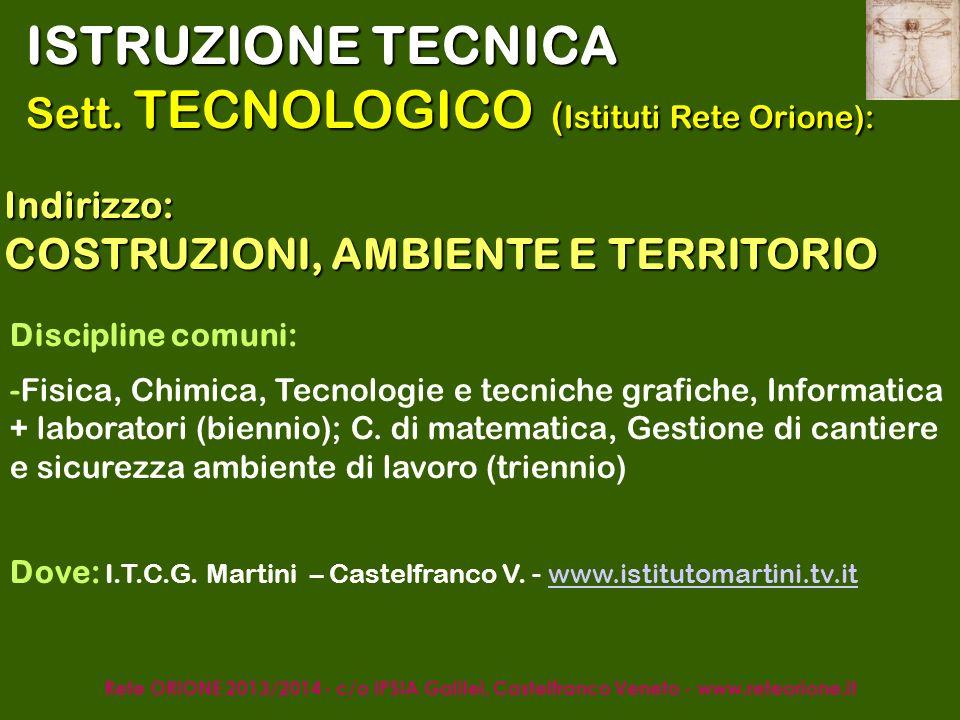 Rete ORIONE 2013/2014 - c/o IPSIA Galilei, Castelfranco Veneto - www.reteorione.it ISTRUZIONE LICEALE