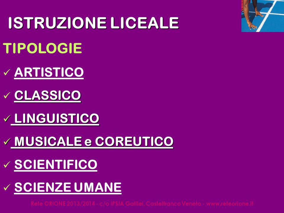 Rete ORIONE 2013/2014 - c/o IPSIA Galilei, Castelfranco Veneto - www.reteorione.it CARICO ORARIO ISTRUZIONE LICEALE LiceoBiennio (ore)Triennio (ore) ARTISTICO 34/sett35/set CLASSICO27/sett 31/sett LINGUISTICO 27/sett30/sett MUSICALE E COREUTICO 32/sett SCIENTIFICO 27/sett30/sett SCIENZE UMANE 27/sett30/sett