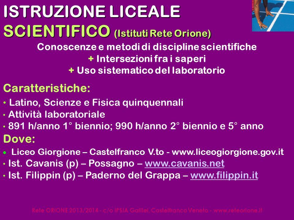 Rete ORIONE 2013/2014 - c/o IPSIA Galilei, Castelfranco Veneto - www.reteorione.it Opzione SCIENZE APPLICATE Caratteristiche: Potenziamento cultura scientifico-tecnologica (+ Matematica, Fisica, Chimica, Biologia, Informatica) NO Latino 891 h/anno 1° biennio; 990 h/anno 2° biennio e 5° anno Dove: Liceo Giorgione – Castelfranco V.to - www.liceogiorgione.gov.it Ist.