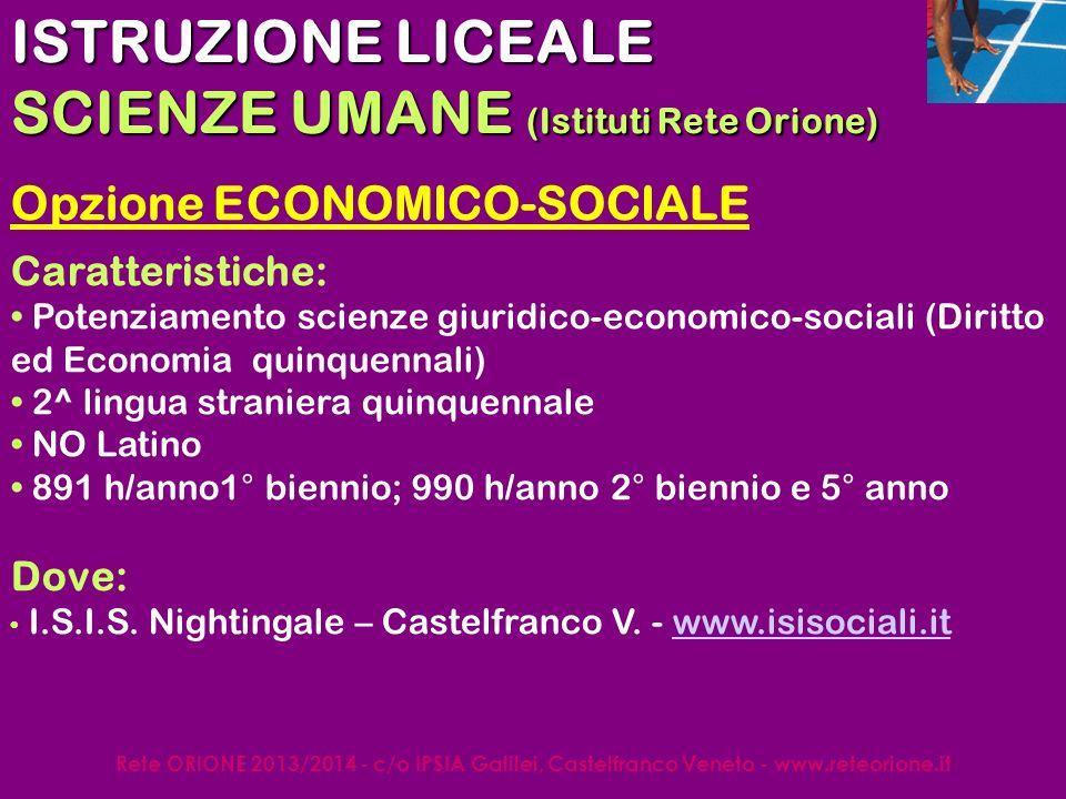 Rete ORIONE 2013/2014 - c/o IPSIA Galilei, Castelfranco Veneto - www.reteorione.it Fonti dinformazione www.reteorione.it www.cortv.net www.venetolavoro.it/sopralamediaweb www.istruzionetreviso.it/orientamento http://formazione.provincia.treviso.it/ www.pubblica.istruzione.it http://nuovilicei.indire.it http://nuovitecnici.indire.it http://nuoviprofessionali.indire.it