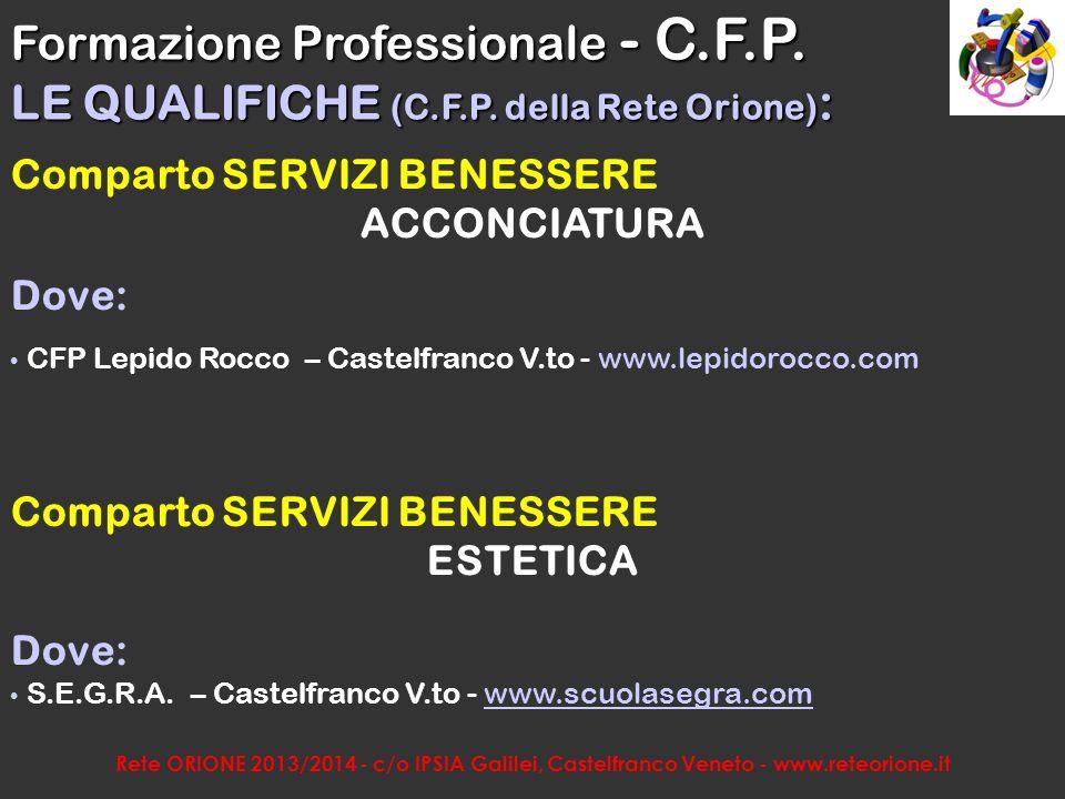 Rete ORIONE 2013/2014 - c/o IPSIA Galilei, Castelfranco Veneto - www.reteorione.it Comparto COMMERCIO E SERVIZI OPERATORE AI SERVIZI DI VENDITA Formazione Professionale - C.F.P.