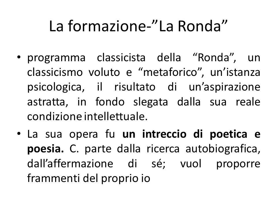 La formazione-La Ronda programma classicista della Ronda, un classicismo voluto e metaforico, unistanza psicologica, il risultato di unaspirazione ast