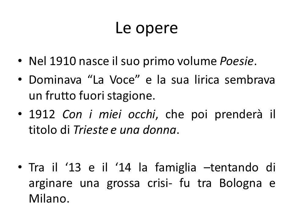 Le opere Nel 1910 nasce il suo primo volume Poesie. Dominava La Voce e la sua lirica sembrava un frutto fuori stagione. 1912 Con i miei occhi, che poi