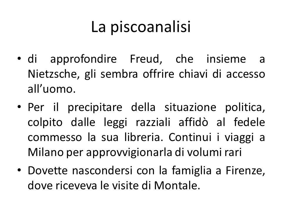 La piscoanalisi di approfondire Freud, che insieme a Nietzsche, gli sembra offrire chiavi di accesso alluomo. Per il precipitare della situazione poli