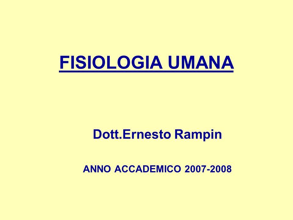 FISIOLOGIA UMANA Dott.Ernesto Rampin ANNO ACCADEMICO 2007-2008