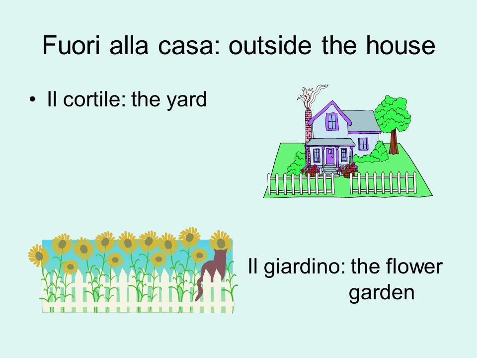 Ce = there is (used for one object) Ci sono = there are (used for 2+ objects) Nel = in the (used with masculine rooms) Nella = in the (used with feminine rooms) 1.In quale stanza ce il letto.