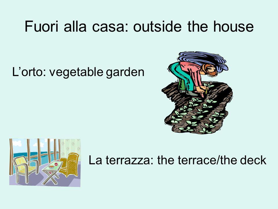 Fuori alla casa: outside the house La piscina Laltalena: seesaw/swings