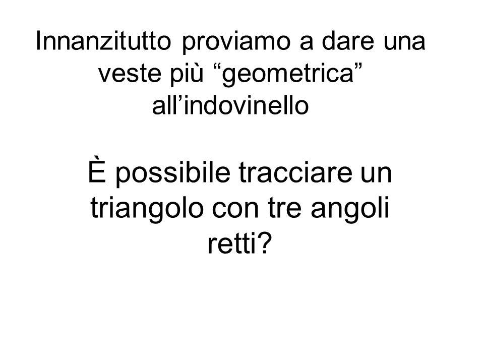 Innanzitutto proviamo a dare una veste più geometrica allindovinello È possibile tracciare un triangolo con tre angoli retti?