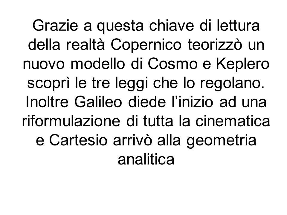 Grazie a questa chiave di lettura della realtà Copernico teorizzò un nuovo modello di Cosmo e Keplero scoprì le tre leggi che lo regolano. Inoltre Gal