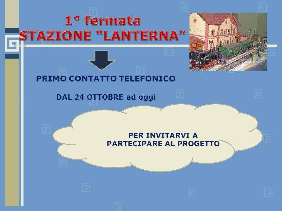 PRIMO CONTATTO TELEFONICO DAL 24 OTTOBRE ad oggi PER INVITARVI A PARTECIPARE AL PROGETTO
