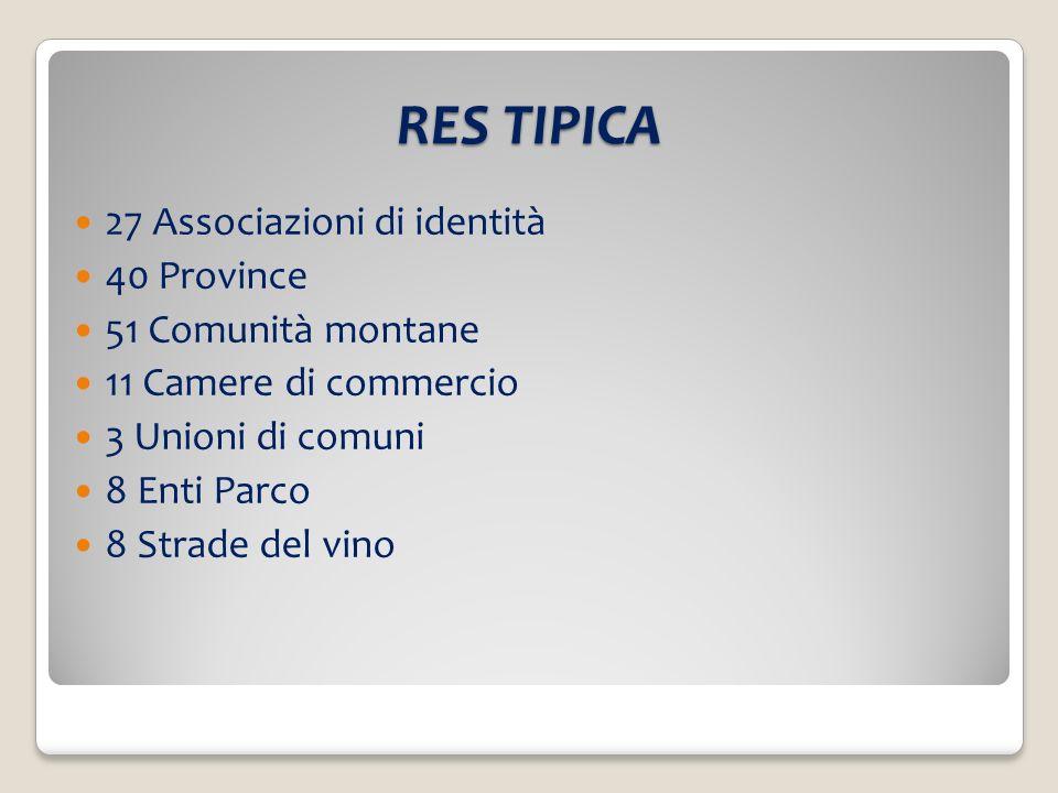 RES TIPICA 27 Associazioni di identità 40 Province 51 Comunità montane 11 Camere di commercio 3 Unioni di comuni 8 Enti Parco 8 Strade del vino