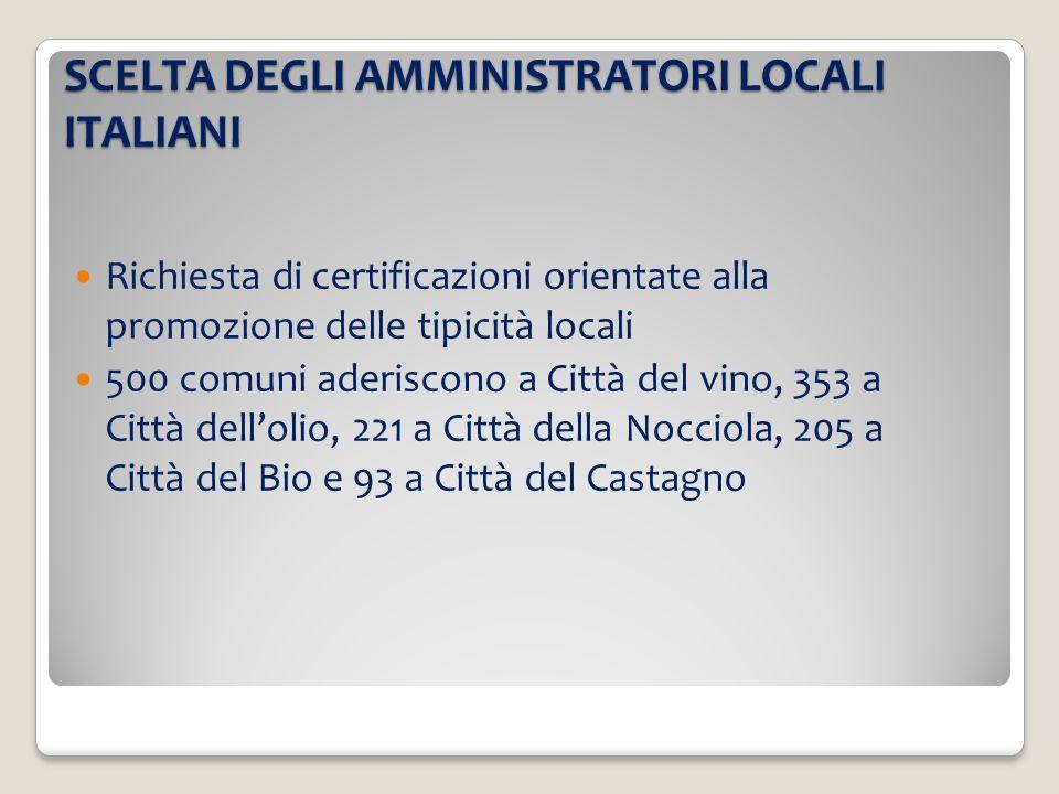 SCELTA DEGLI AMMINISTRATORI LOCALI ITALIANI Richiesta di certificazioni orientate alla promozione delle tipicità locali 500 comuni aderiscono a Città del vino, 353 a Città dellolio, 221 a Città della Nocciola, 205 a Città del Bio e 93 a Città del Castagno
