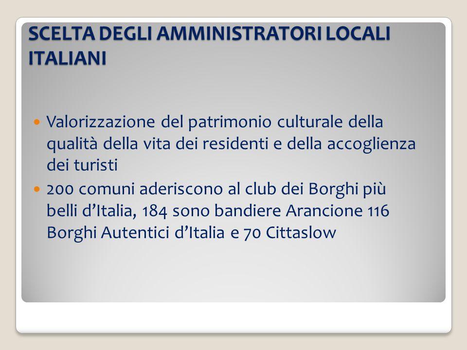 SCELTA DEGLI AMMINISTRATORI LOCALI ITALIANI Valorizzazione del patrimonio culturale della qualità della vita dei residenti e della accoglienza dei tur