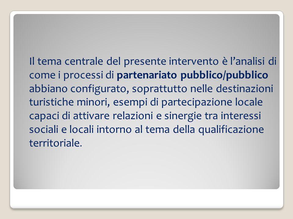 Il tema centrale del presente intervento è lanalisi di come i processi di partenariato pubblico/pubblico abbiano configurato, soprattutto nelle destin