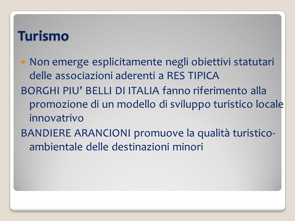 Turismo Non emerge esplicitamente negli obiettivi statutari delle associazioni aderenti a RES TIPICA BORGHI PIU BELLI DI ITALIA fanno riferimento alla promozione di un modello di sviluppo turistico locale innovatrivo BANDIERE ARANCIONI promuove la qualità turistico- ambientale delle destinazioni minori