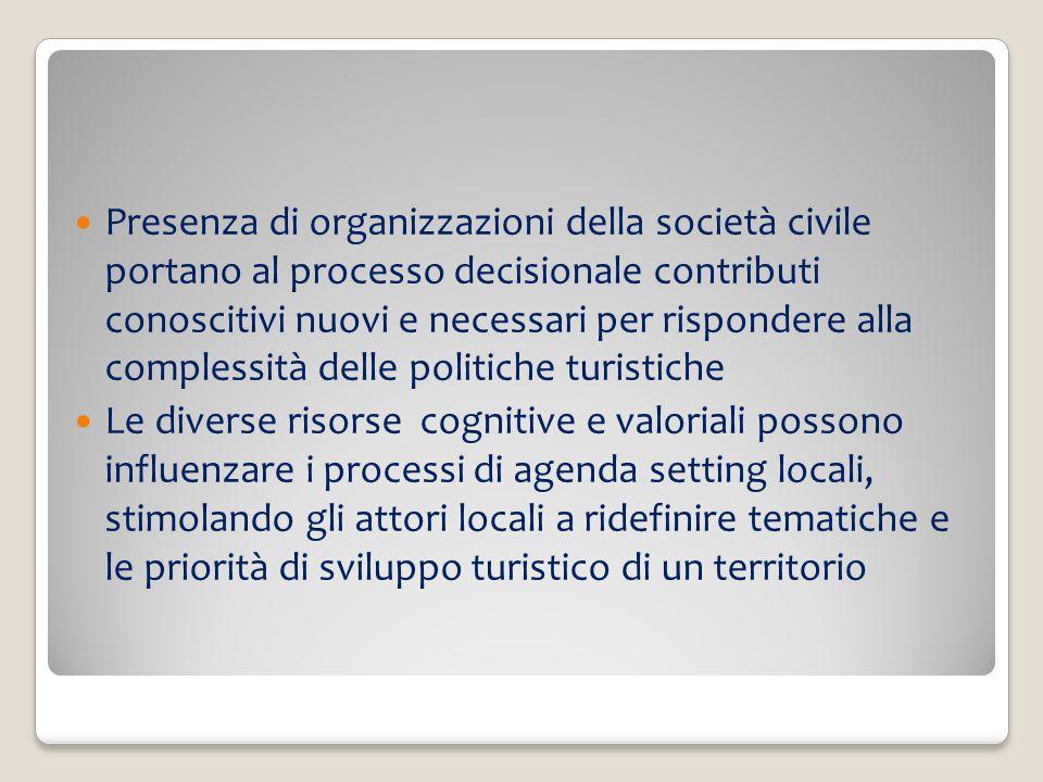 Presenza di organizzazioni della società civile portano al processo decisionale contributi conoscitivi nuovi e necessari per rispondere alla complessi
