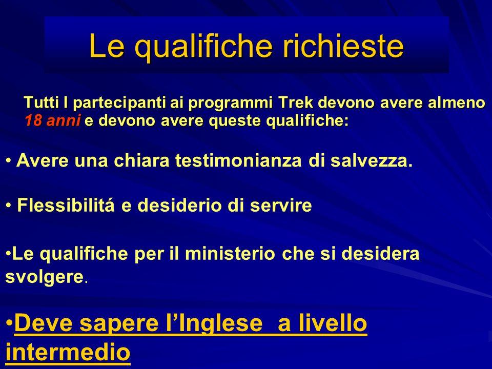 Le qualifiche richieste Tutti I partecipanti ai programmi Trek devono avere almeno 18 anni e devono avere queste qualifiche: Avere una chiara testimon