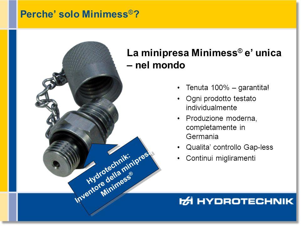 Perche solo Minimess ® .La minipresa Minimess ® e unica – nel mondo Tenuta 100% – garantita.