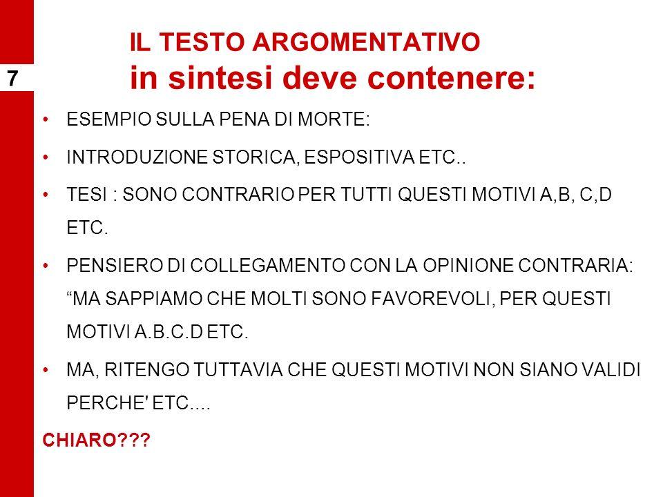 IL TESTO ARGOMENTATIVO in sintesi deve contenere: ESEMPIO SULLA PENA DI MORTE: INTRODUZIONE STORICA, ESPOSITIVA ETC..