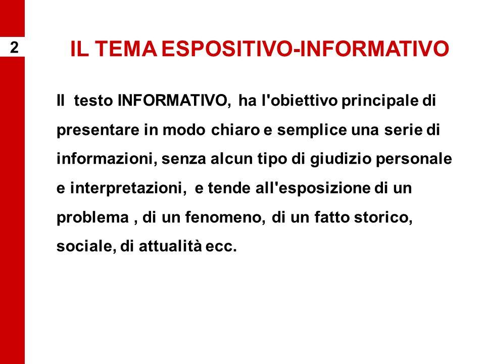 IL TEMA ESPOSITIVO-INFORMATIVO Il testo INFORMATIVO, ha l'obiettivo principale di presentare in modo chiaro e semplice una serie di informazioni, senz