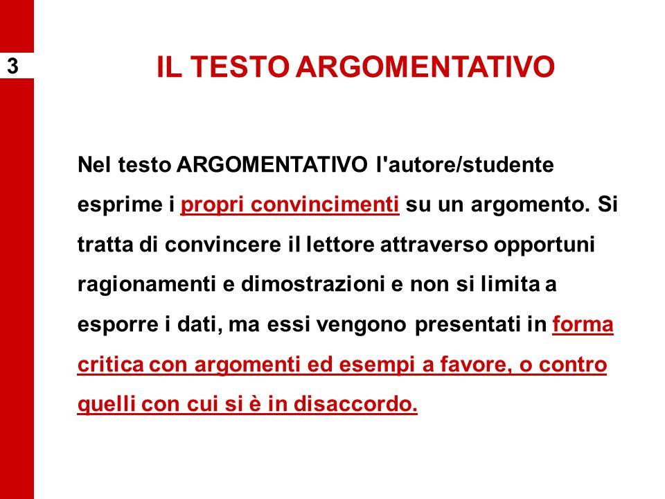 IL TESTO ARGOMENTATIVO Nel testo ARGOMENTATIVO l'autore/studente esprime i propri convincimenti su un argomento. Si tratta di convincere il lettore at