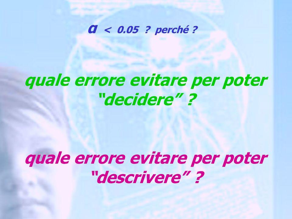α < 0.05 . perché . quale errore evitare per poter decidere .