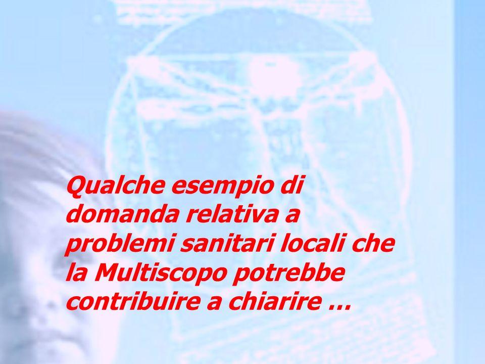 Qualche esempio di domanda relativa a problemi sanitari locali che la Multiscopo potrebbe contribuire a chiarire …
